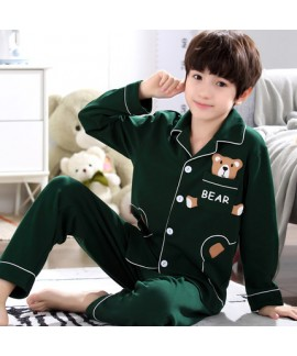 Long sleeves 100 cotton Boys' pajama set for spring cheap set of pajamas for children