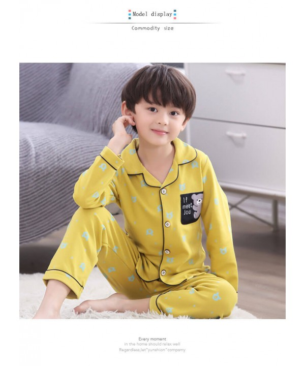 Long sleeves 100 cotton Boys' pajama set for sprin...