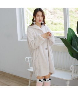 Coral fleece thicken lounge pajamas female comfy p...