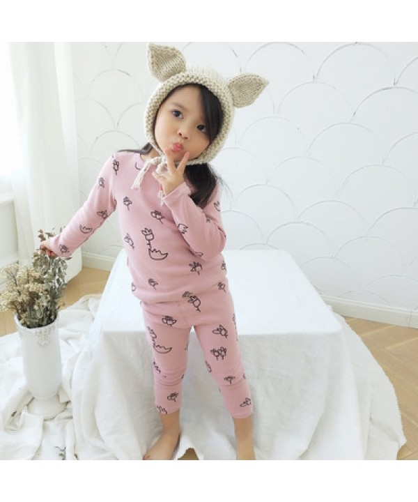 Cute flower printed girls cotton lounge pajamas comfy pj sets female