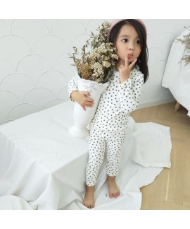 Cute flower printed girls cotton lounge pajamas co...
