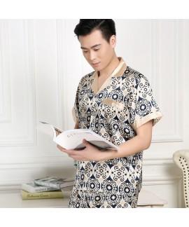 Spring and summer ice silk pajama set short sleeve...