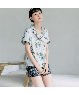 Short sleeve silk like Pajama set printed sexy sle...