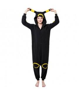 Polar fleece cartoon animal one-piece pajamas blac...