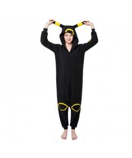 Polar fleece cartoon animal one-piece pajamas black moon elves couple pajamas