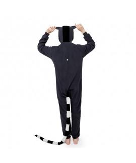 Polar fleece cartoon one piece pajamas long tail monkey lemur couple one piece pajamas