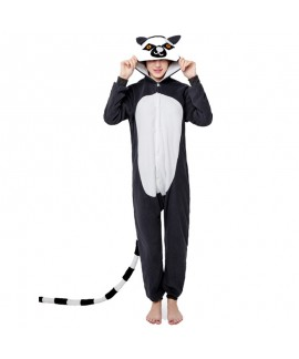 Polar fleece cartoon one piece pajamas long tail m...