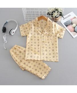 Ice Silk pajama sets 4-color short sleeve summer sleepwear