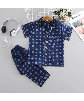 Ice Silk pajama sets 4-color short sleeve summer s...