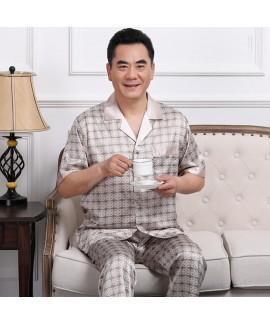 Short sleeve ice silk pajama sets for men large si...