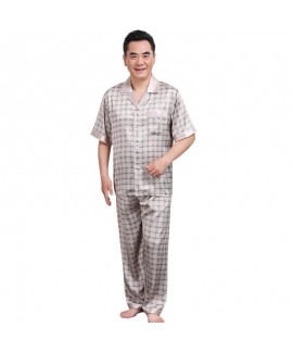 Short sleeve ice silk pajama sets for men large size middle-aged and elderly two piece sleepwear set