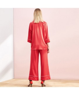 Simulation silk pajama sets single breasted long sleeve long sleepwear