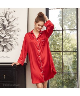 long sleeve sexy pajamas for women in spring and s...