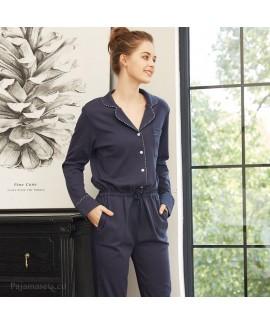One piece long sleeve women's cotton pajamas can b...