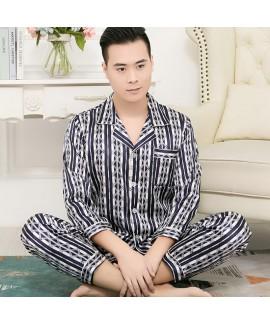 long sleeve ice silk sleepwear for men large size ...