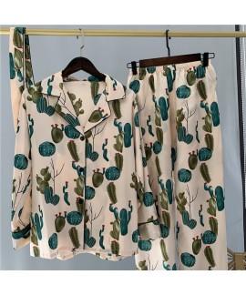 Long sleeve Lapel sleepwear suit women's ice silk ...