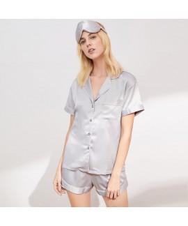 Summer women's sleepwear imitation silk short slee...