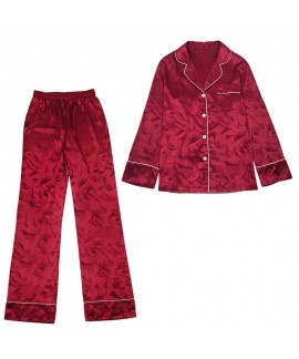 Casual two piece cardigan pajama sets large size ice silk sleepwear sets