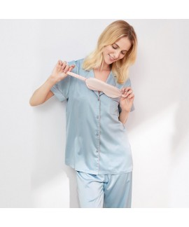 Causual two piece summer pajama set imitating silk...