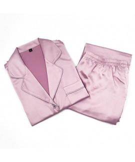 Causual two piece summer pajama set imitating silk sleepwear