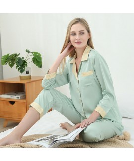 Summer sexy two piece pajama sets large size ice silk sleepwear