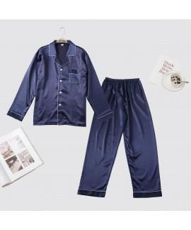 Men's pure color Pajama imitation silk set long sl...