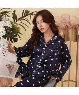 Silk like Pajama suit with Lapel print sexy loose ...