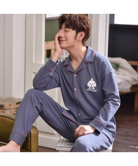 Mens long sleeve cotton cardigan pajama sets carto...