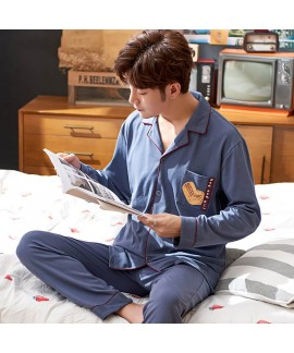 mens pajamas for spring and autumn long sleeve cot...
