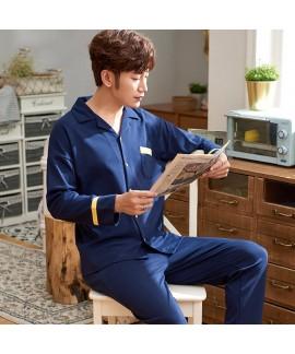 Plus size Mens pajamas in spring and autumn two piece set sleepwear