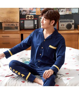 Plus size Mens pajamas in spring and autumn two pi...