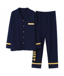 Plus size Mens pajamas in spring and autumn two piece set sleepwear