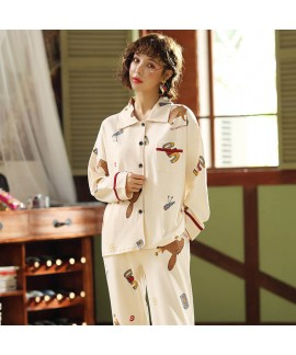 Autumn and winter pajamas women's combed cotton long sleeve cardigan sleepwear