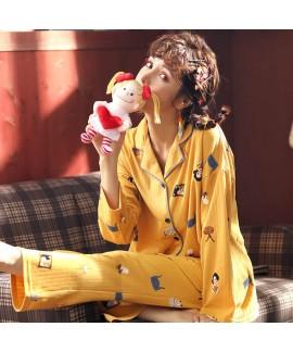 Combed cotton long sleeve Pajama women's 2019 casu...