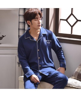 Panda blue spring and autumn youth Mens sleepwear set