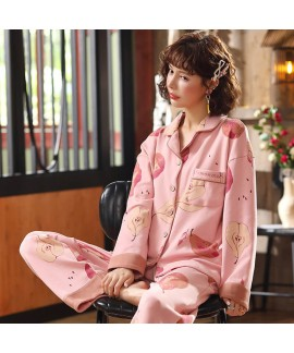 combed cotton pajamas women's cardigan long sleeve...