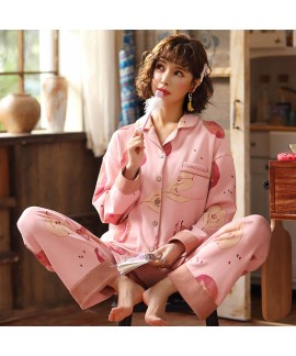combed cotton pajamas women's cardigan long sleeve sleepwear for Autumn and winter
