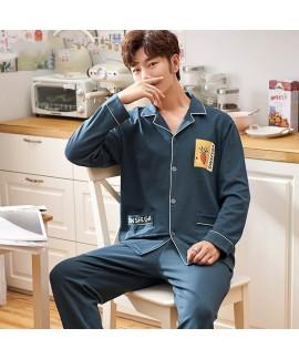 cotton long sleeve Lapel cardigan plus size leisure Mens sleepwear