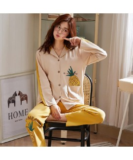 Autumn and winter Lapel youth long sleeve knitted cotton pajamas women's pajama sets