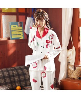 Autumn and winter combed cotton long sleeve Pajama...