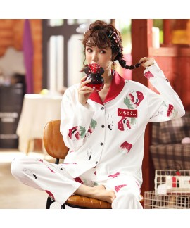 Autumn and winter combed cotton long sleeve Pajama set women's cardigan sweet sleepwear