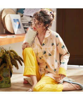 Autumn and winter cotton long sleeve cardigan pajamas women's casual printed sleepwear