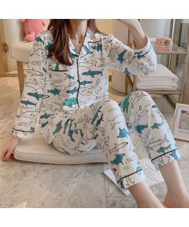 Long sleeve women's pure cotton pajamas for spring...
