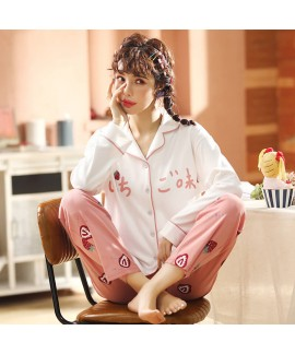 long sleeve pajamas women's casual cardigan sweet ...