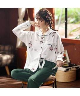 Combed cotton women's pajamas sweet cardigan Pajam...