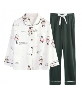 Combed cotton women's pajamas sweet cardigan Pajama sets for autumn and winter