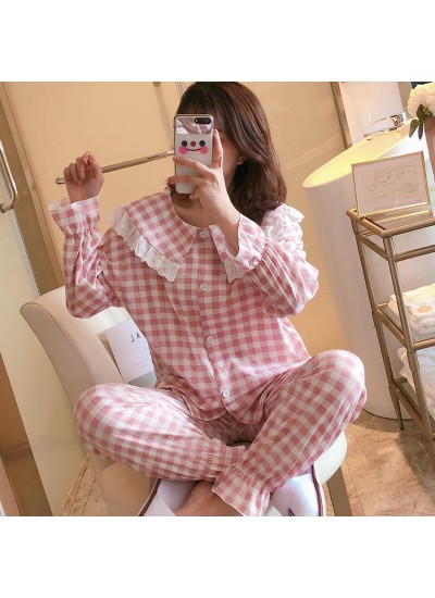 Autumn and winter new long sleeve pajamas women's cardigan Lapel comfortable casual Nightgown