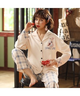 combed cotton trousers sweet pajamas women's cardigan long sleeve women's two piece set