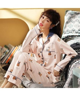 Cotton cardigan long sleeve Pajama suit women's sl...