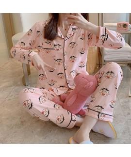 long sleeve cotton pajamas women's cartoon sleepwe...